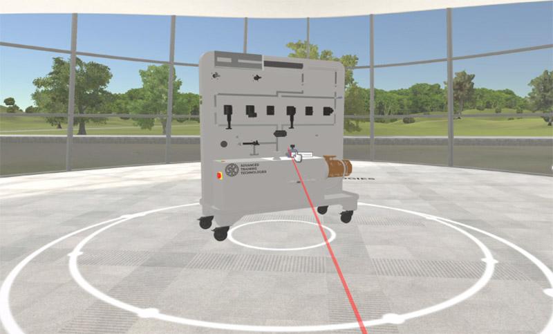 Das Schulungsaggregat im virtuellen Trainingsraum. Für die Praxisübungen steht den Teilnehmern auch ein reales Schulungsaggregat vor Ort zur Verfügung. Der Trainer betreut die Teilnehmer bei der Durchführung der praktischen Übungen.